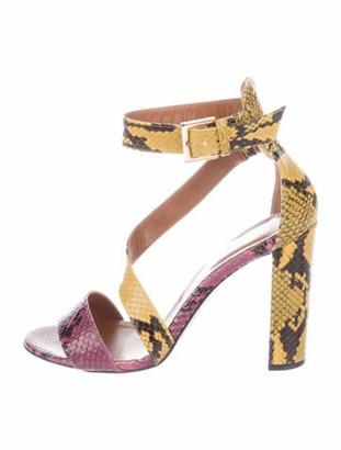 Paris Texas Leather Animal Print T-Strap Sandals Yellow
