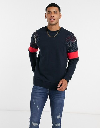 Jack and Jones sweatshirt with abstract print shoulders in navy
