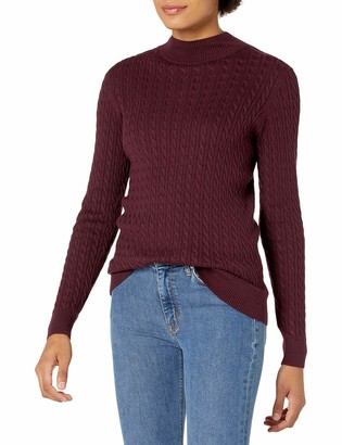 Amazon Essentials Women's Classic-Fit Lightweight Cable Long-Sleeve Mockneck Sweater