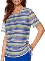 Alfred Dunner Tropical Punch Short-Sleeve Striped Top