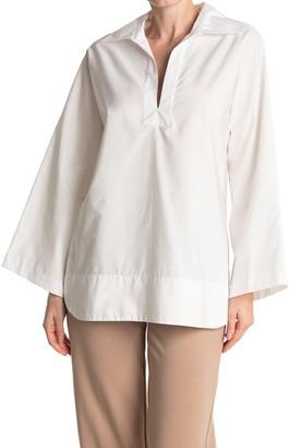 Nili Lotan Mae Spit Neck Long Sleeve Tunic Top