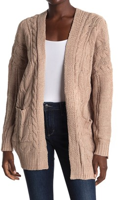 Woven Heart Chenille Cable Knit Long Cardigan