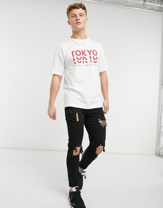 New Look T-shirt with Tokyo print in white