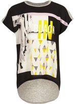 River Island Girls black graphic print t-shirt