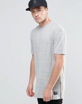 Brave Soul Longline T-shirt In Fine Stripe