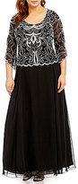 J Kara Plus 3/4-Sleeve Beaded Gown