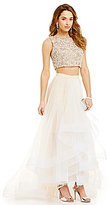Glamour by Terani Couture Terani Couture Prom Crystal Beaded Crop-Top Two-Piece Tulle Layered Skirt Gown