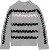 Kenzo Appliquéd Wool Sweater - Light gray