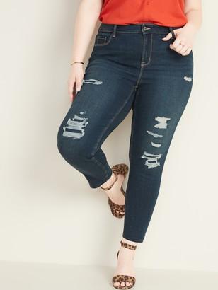 Old Navy High-Waisted Secret-Slim Pockets Plus-Size Distressed Rockstar Ankle Jeans