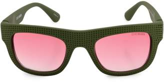 Steve Madden Perforated Flat Top 51mm Square Sunglasses