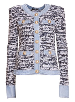 Balmain White And Blue Tweed And Denim Jacket With Golden Buttons
