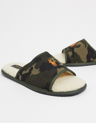Ralph Lauren Polo slider slippers in green camo