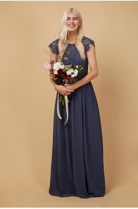 Little Mistress Bridesmaid Sonja Gunmetal Lace Maxi Dress