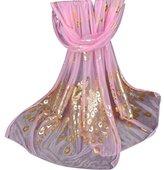 Chiffon Fashion Women Long Print Ninasill Scarf (Pink)
