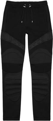 Balmain Black panelled cotton sweatpants