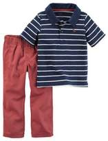 Carter's Newborn 2-Piece Polo and Pant Set in Navy/Red