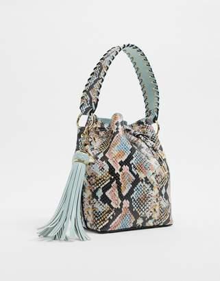 Aldo Dororyth drawstring bucket bag in snake multi