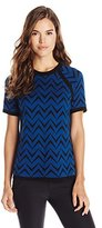 Anne Klein Women's Short Sleeve Jacquard Sweater Tee