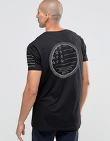 Asos Longline T-Shirt With Flag Print And Sleeve Stripe Print