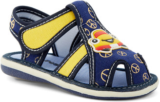 Papos Boys' Sandals NAVY - Navy & Yellow Car Squeaker Sandal - Boys