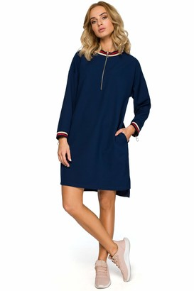 Moe   Made Of Emotion MOE - made of emotion Zipped Dress with Ribbed Trim - Navy Blue L/XL