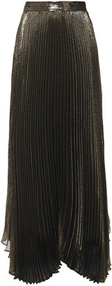 Alice + Olivia Katz Pleated Silk-blend Lame Maxi Skirt