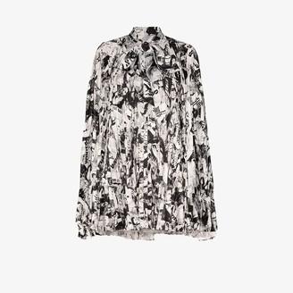 Balenciaga Magazine Print Pleated Mini Dress