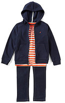 Nautica Little Boys 2T-7 Solid Hoodie, Striped Shirt, & Pants 3-Piece Set