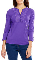 Allison Daley Y-Neck 3/4 Sleeve Embroidered Yoke Knit Top