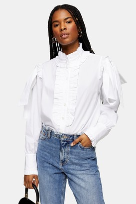 Topshop Womens White Poplin Ruffle Bow Blouse - White