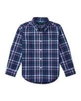 Ralph Lauren Long-Sleeve Plaid Cotton Poplin Shirt, Royal Blue/Multicolor, Size 5-7