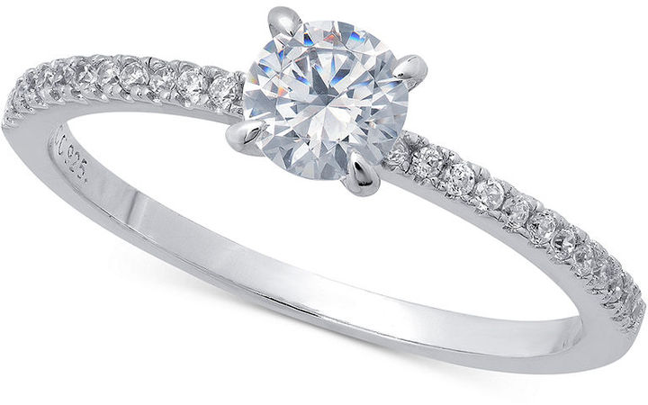 Crislu Ring, Platinum Over Sterling Silver Brilliant-Cut Cubic Zirconia Solitaire Ring (3/5 ct. t.w.)