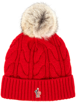 Moncler Fur-pompom knitted beanie hat