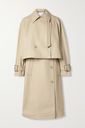 Tibi Convertible Vegan Leather Trench Coat - Beige