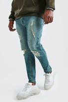 boohoo Mens Blue Big And Tall Ripped Knee Skinny Jean, Blue