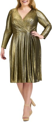 Mac Duggal Metallic Long Sleeve Cocktail Dress