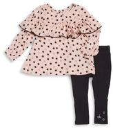 Calvin Klein Little Girl's Two-Piece Ruffled Top and Leggings Set