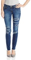 Big Star Women's Alex Skinny with Rip and Repair Plaid Patches On Distressed Deep Blue Denim