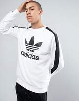 adidas Berlin Pack Crew Neck Sweater With Trefoil Logo In White BQ0740