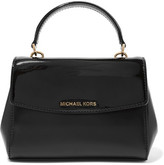 MICHAEL Michael Kors Ava Extra Small Matte And Patent-leather Tote - Black