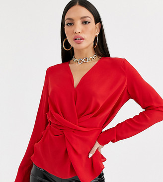 Asos DESIGN Tall long sleeve v neck top with twist and drape detail