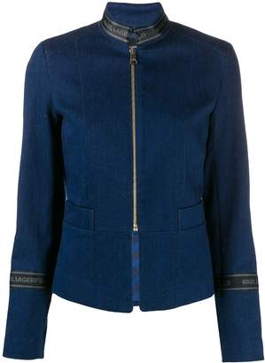 Karl Lagerfeld Paris logo tape zipped denim jacket
