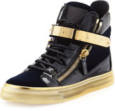 Giuseppe Zanotti Velvet High-Top Side-Zip Sneaker, Navy