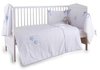 Clair De Lune 3-Piece Blue Stardust Cot/Cot Bed Quilt, Bumper and Fitted Sheet Bedding Set