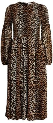 Ganni Leopard-Print Georgette Midi Dress