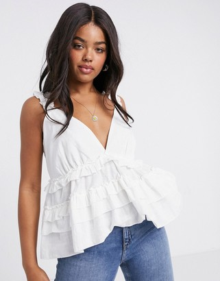 In The Style x Lorna Luxe frill shoulder smock top in cream