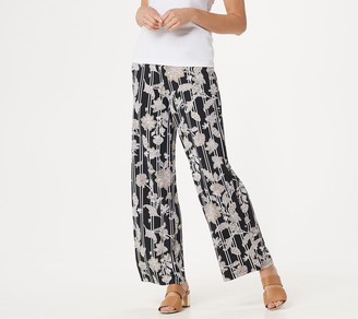 Bob Mackie Petite Balinese Floral Striped Print Pull-On Pants