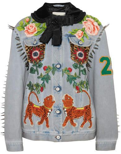 Gucci Calf Hair-paneled Embellished Denim Jacket - Light denim