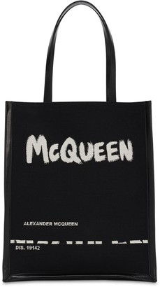 Alexander McQueen Logo Jacquard Canvas & Leather Tote Bag