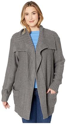 Karen Kane Plus Plus Size Shawl Collar Cardigan (Dark Heather Gray) Women's Clothing